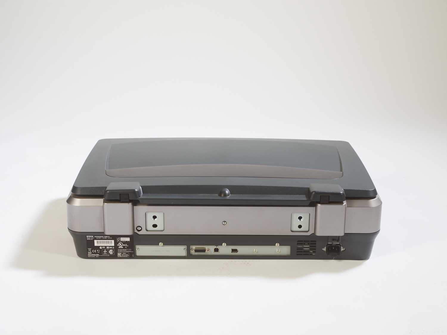 Studio shot of the back of an Epson Expression 10000XL scanner