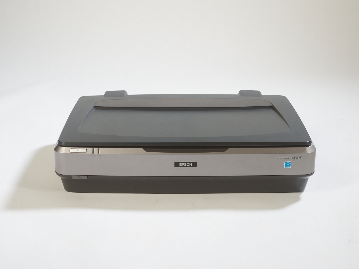 Studio shot of the front of an Epson Expression 10000XL scanner